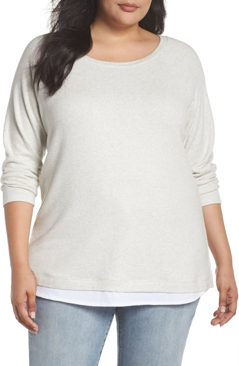 CASLON<SUP>®</SUP> Button Back Sweater, Main, color, GREY- WHITE