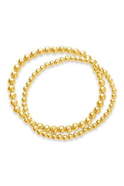 Image of Sterling Forever 14K Gold Plated Beaded Stretch Bracelet Set