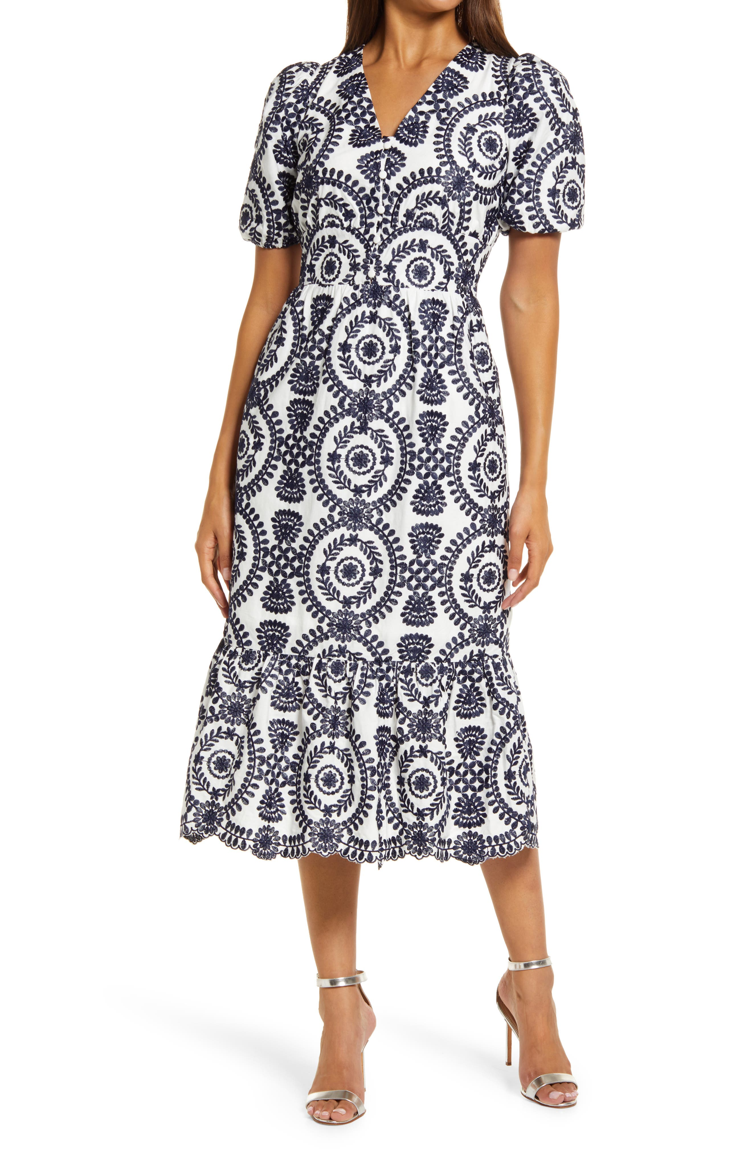 Luisa Embroidered Midi Dress