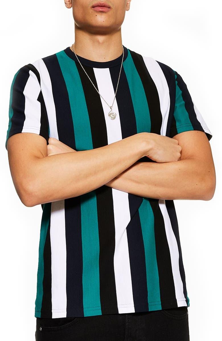 TOPMAN Stripe T-Shirt, Main, color, 400