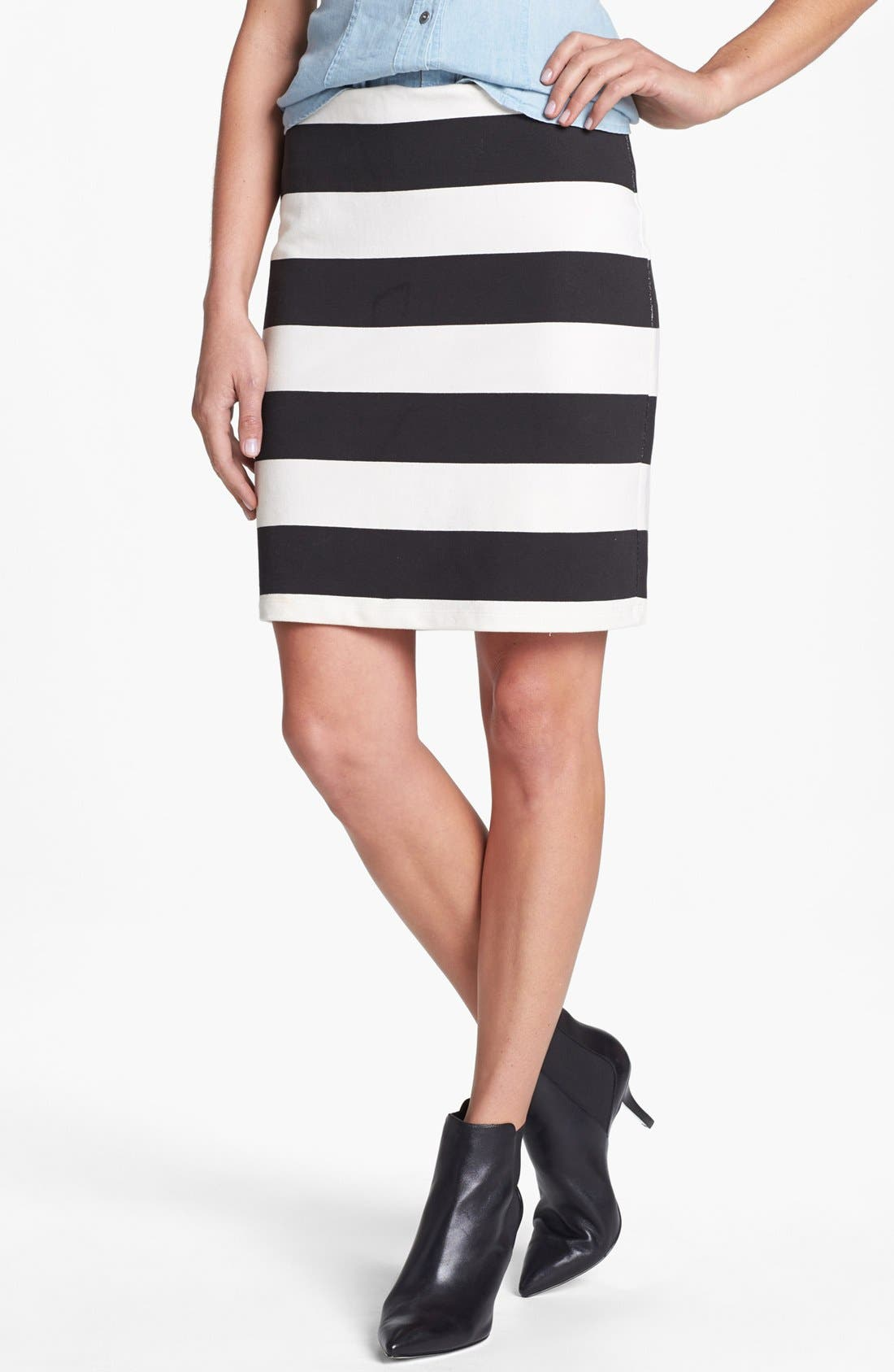 ,                             Stripe French Terry Skirt,                             Main thumbnail 8, color,                             100