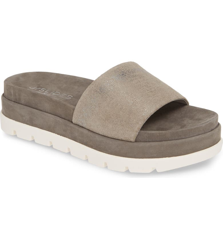 JSLIDES Bibi Platform Sandal, Main, color, PEWTER METALLIC LEATHER