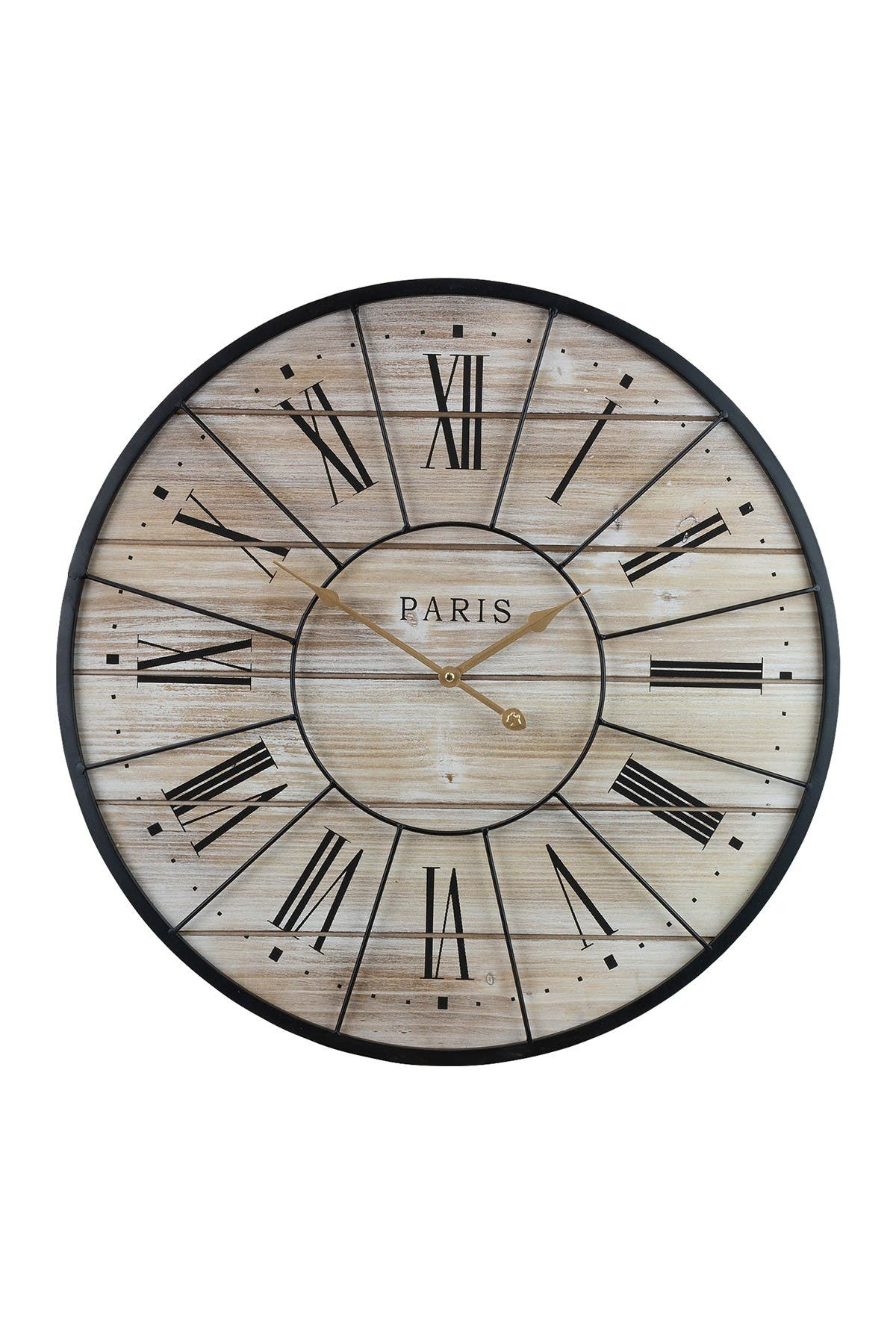 Image of Sorbus Metal & Solid Wood Wall Clock
