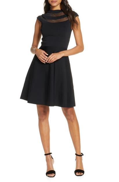 Eliza J Illusion Yoke Fit & Flare Sweater Dress In Black