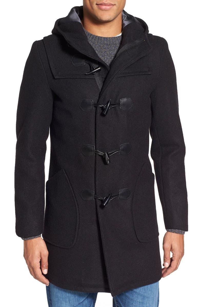SCHOTT NYC Satin Lined Wool Blend Duffle Coat, Main, color, 001