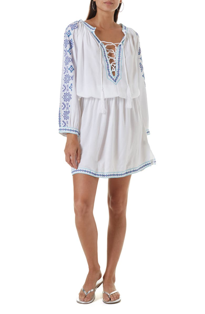 MELISSA ODABASH Ellie Embroidered Cover-Up Dress, Main, color, WHITE/CELESTE