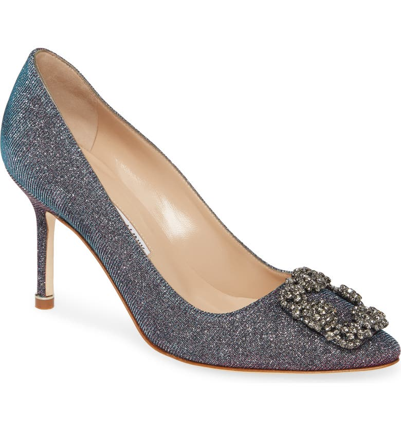 MANOLO BLAHNIK Hangisi Metallic Pump, Main, color, MIDNIGHT NOTTURNO