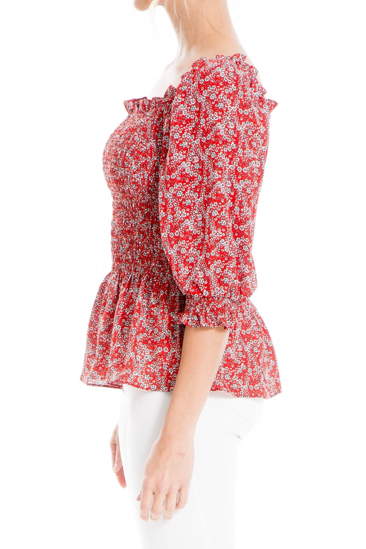 Image of Max Studio Printed Smocked Peasant Blouse