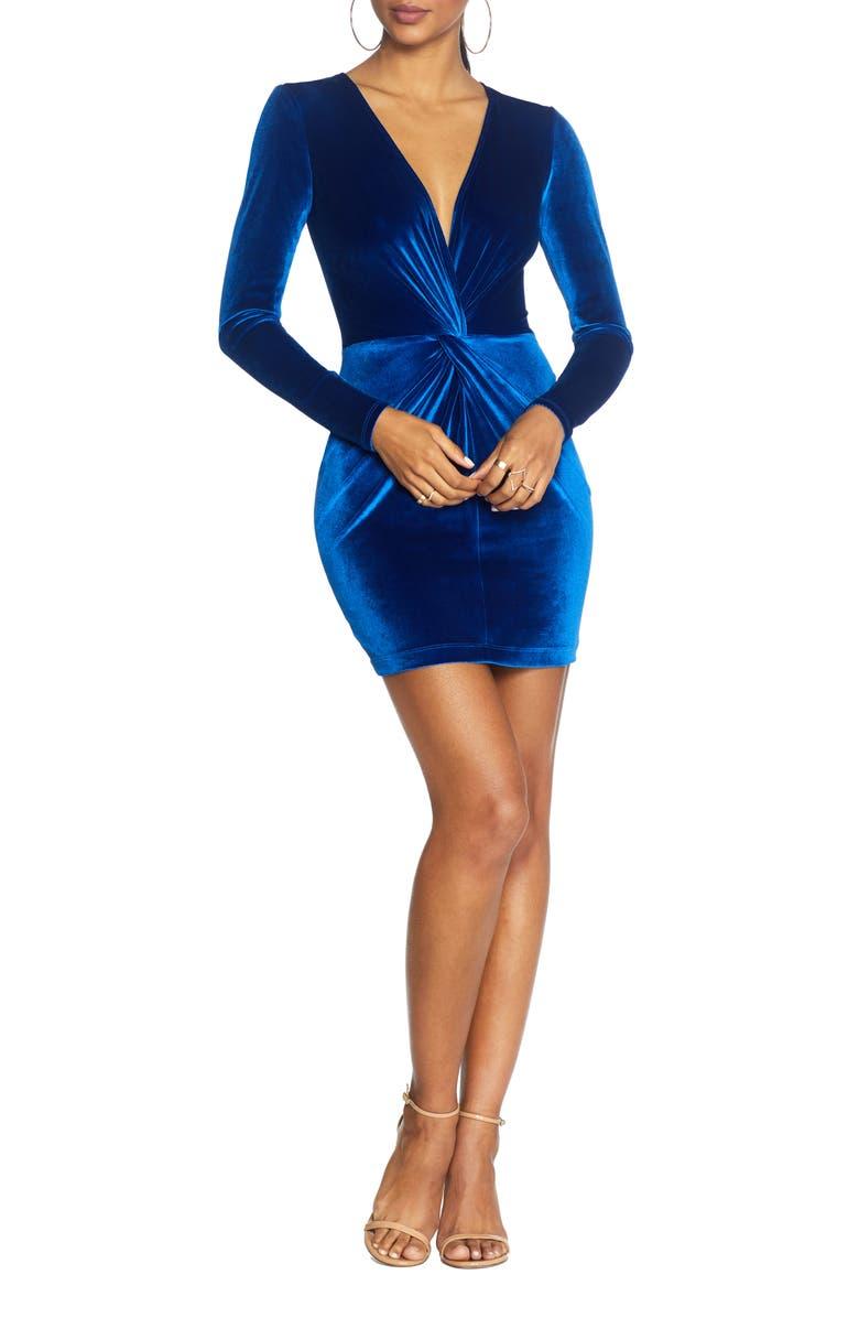 COSMOPOLITAN DRESS THE POPULATION Aidan Long Sleeve Twist Plunge Velvet Body-Con Dress, Main, color, COBALT