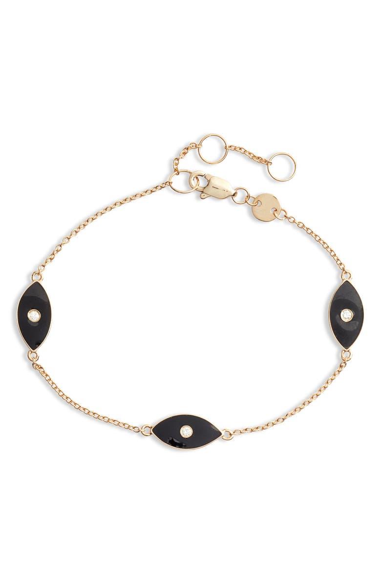 JENNIFER ZEUNER Nazar Enamel Eye Trio Bracelet, Main, color, BLACK ENAMEL/ YELLOW GOLD