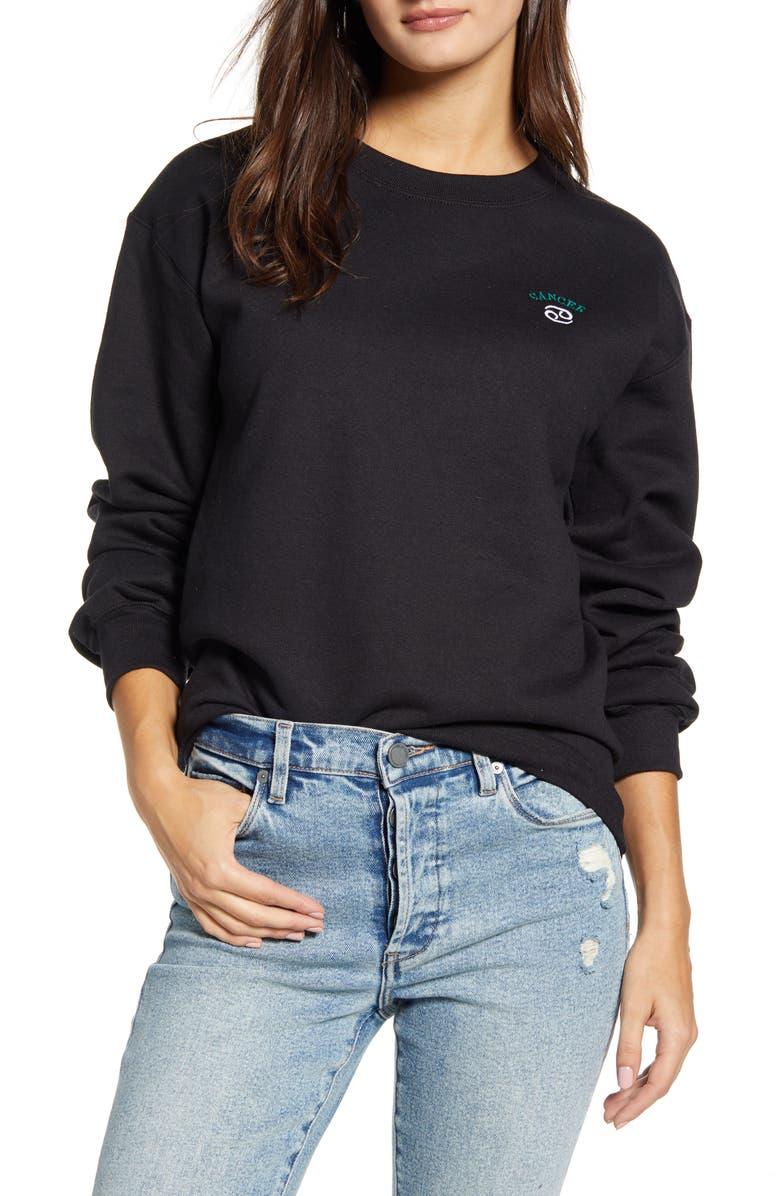 BP. Oversized Zodiac Sweatshirt, Main, color, BLACK- CANCER