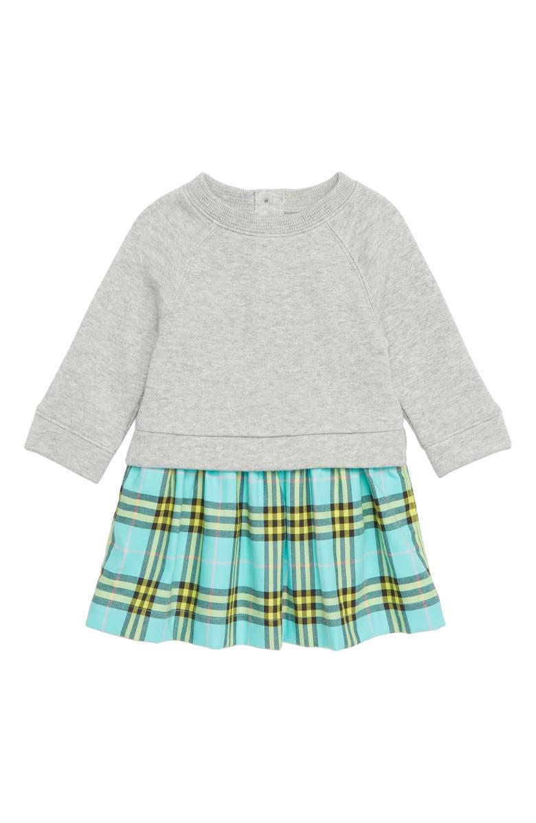 BURBERRY Check & Cotton Sweater Dress, Main, color, 400