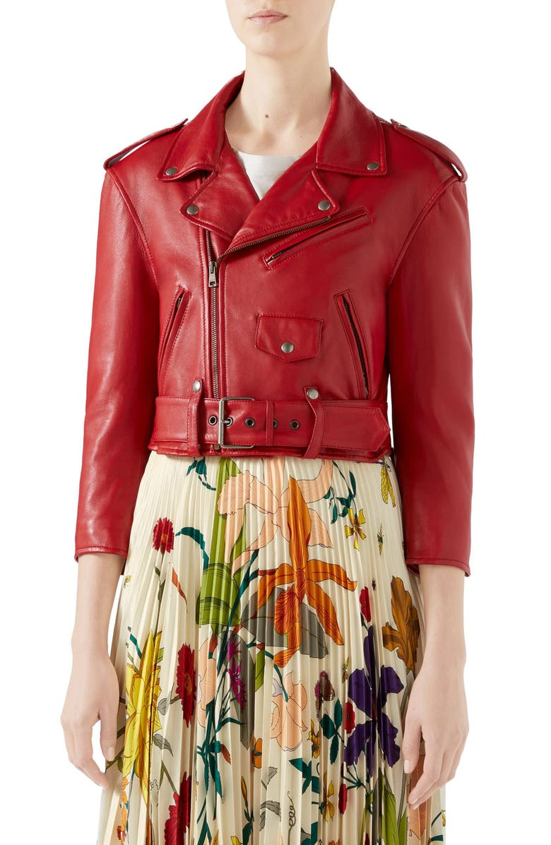 GUCCI Chateau Marmont Embellished Leather Biker Jacket, Main, color, RED/ MULTICOLOR
