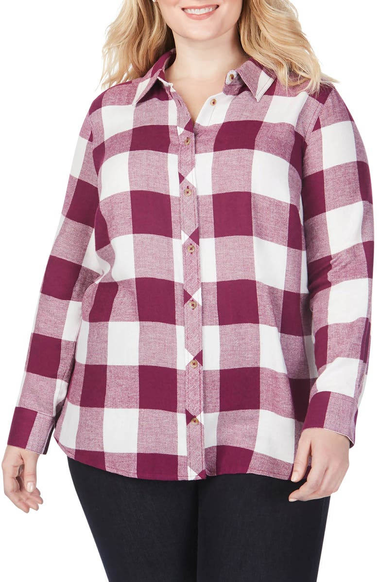 FOXCROFT Rhea Buffalo Check Brushed Cotton Blend Shirt, Main, color, PERSIAN PLUM