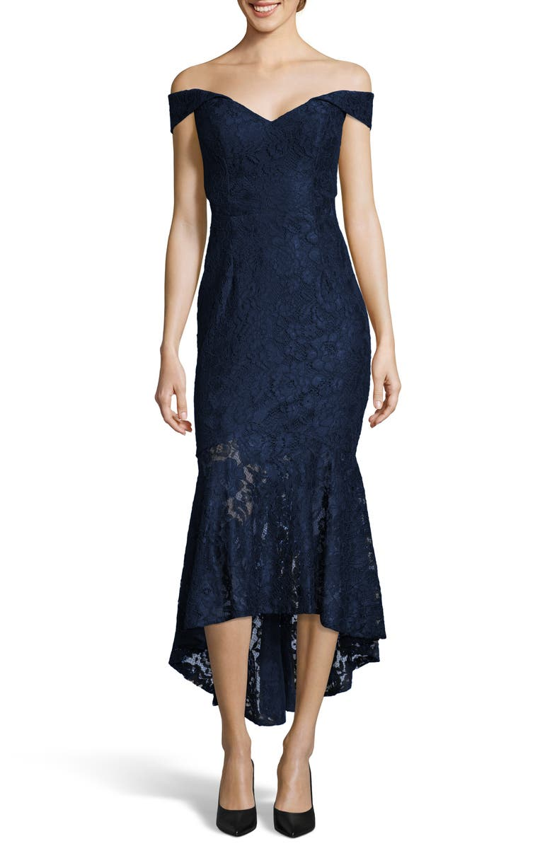 XSCAPE Off the Shoulder High/Low Hem Lace Cocktail Dress, Main, color, NAVY