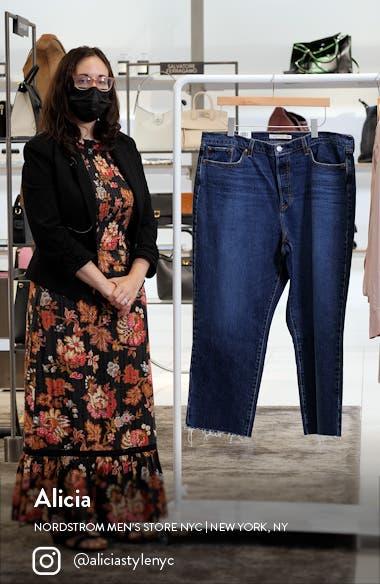 Wedgie High Waist Raw Hem Straight Leg Jeans, sales video thumbnail
