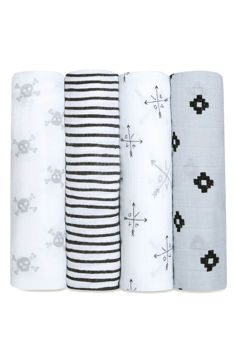 ADEN + ANAIS 4-Pack Classic Swaddling Cloths, Main, color, LOVESTRUCK