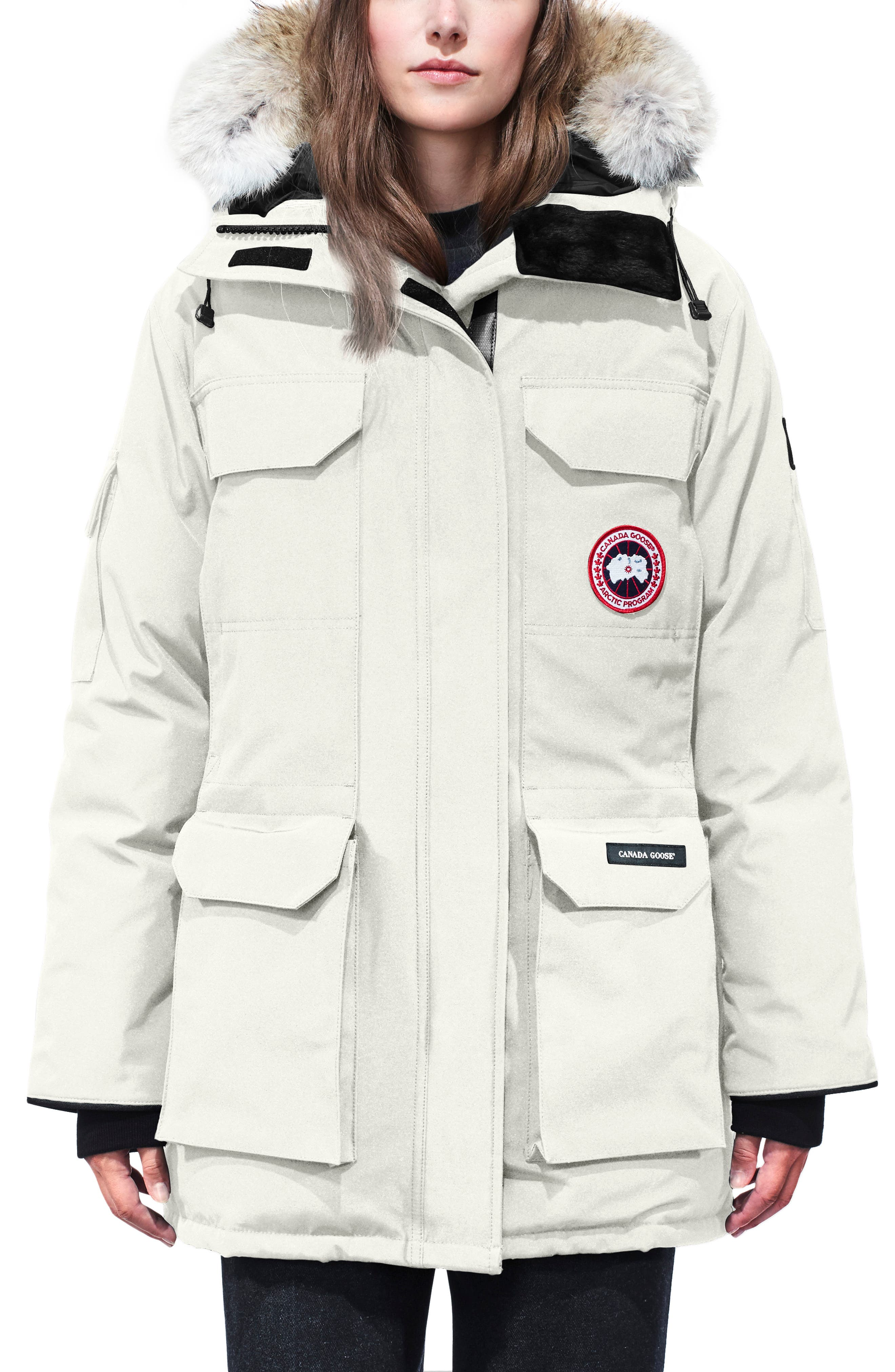 Canada Goose Expedition Hooded Down Parka With Genuine Coyote Fur Trim, (0) - Ivory