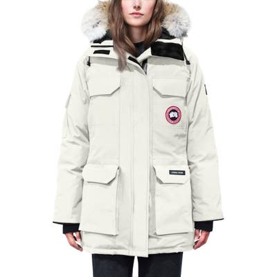 Canada Goose Expedition Hooded Down Parka With Genuine Coyote Fur Trim, (16-18) - Ivory