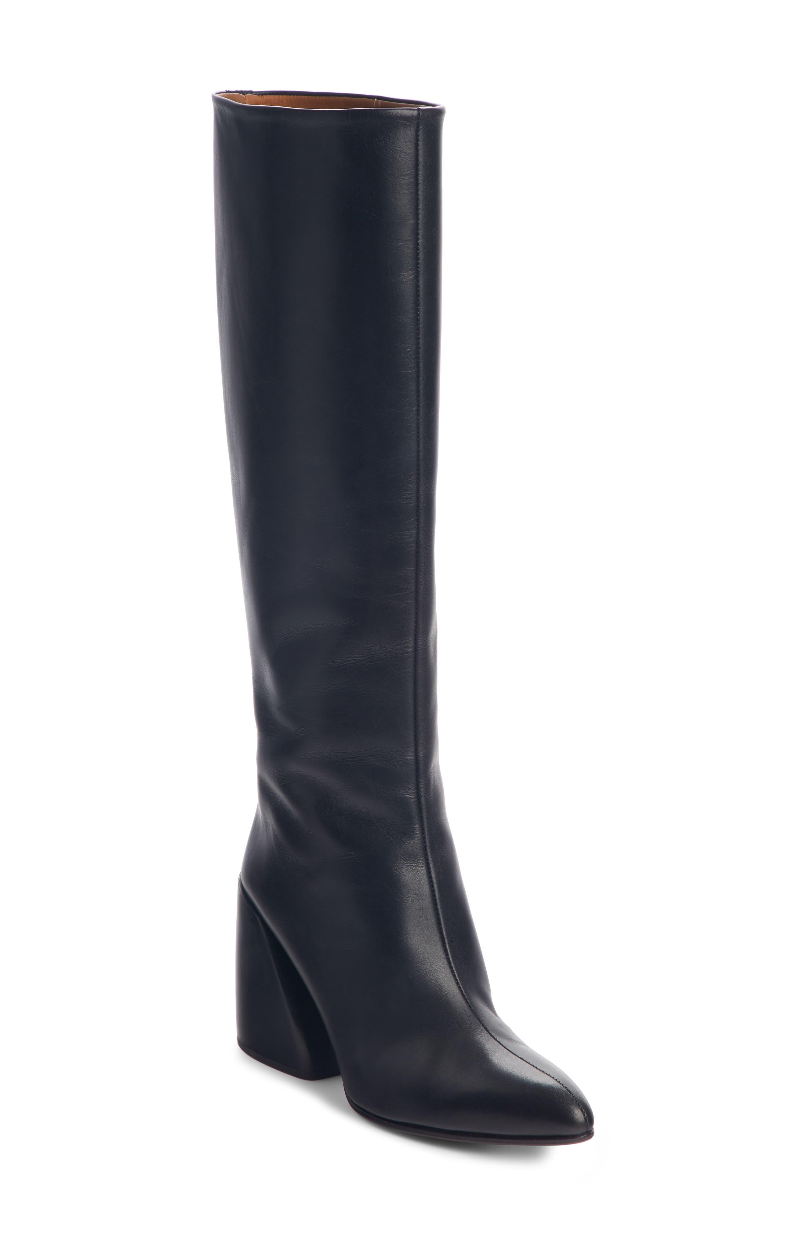 Chloe Wave Knee High Boot, Black