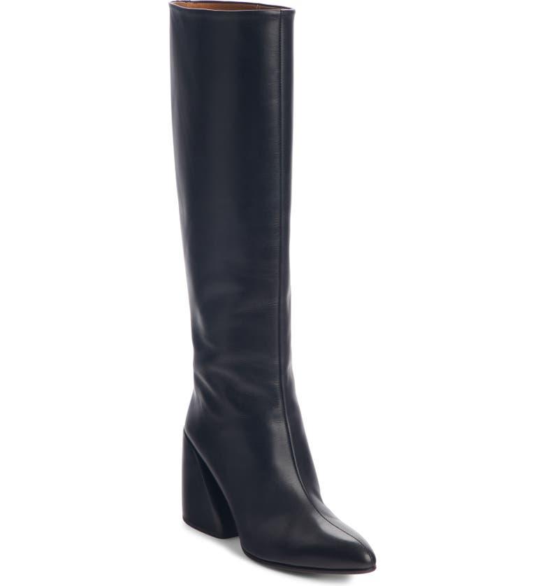 CHLOÉ Wave Knee High Boot, Main, color, BLACK
