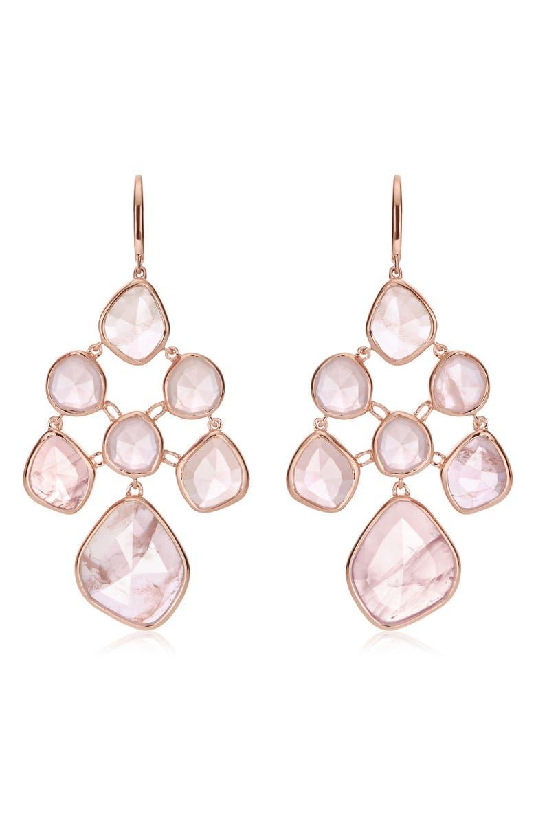 MONICA VINADER Siren Chandelier Earrings, Main, color, ROSE GOLD/ ROSE QUARTZ