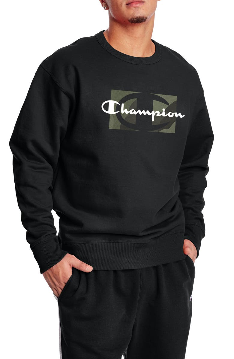 CHAMPION Powerblend Graphic Crew Neck Sweater, Main, color, BLACK