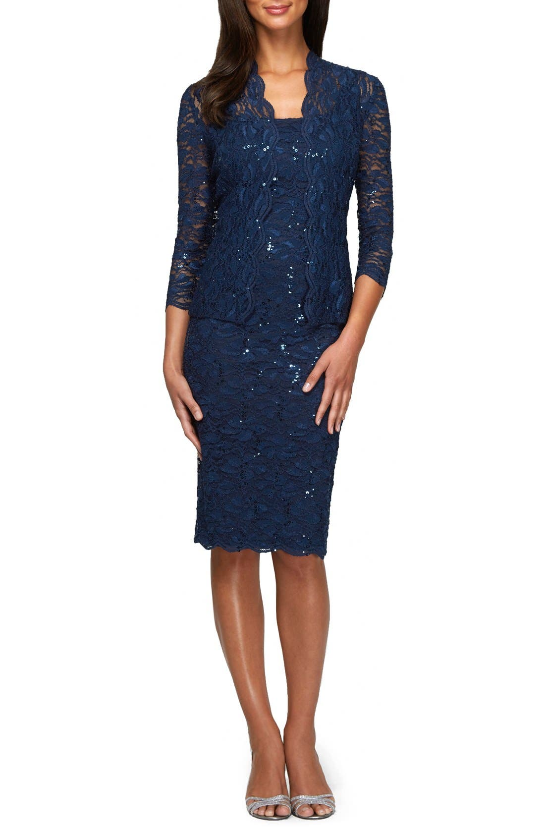 Lace Dress & Jacket, Main, color, NAVY