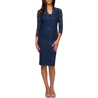 Petite Alex Evenings Lace Cocktail Dress With Jacket, Blue