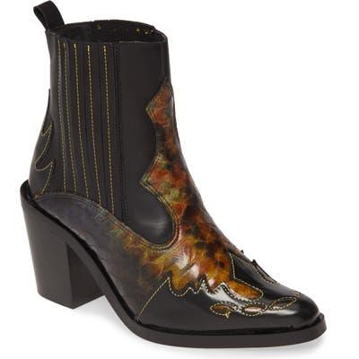 Kurt Geiger London Damen Snakeskin Embossed Leather Chelsea Boot, Black