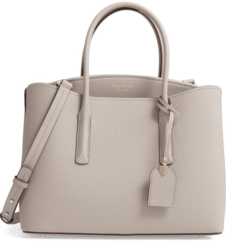 KATE SPADE NEW YORK large margaux leather satchel, Main, color, TRUE TAUPE
