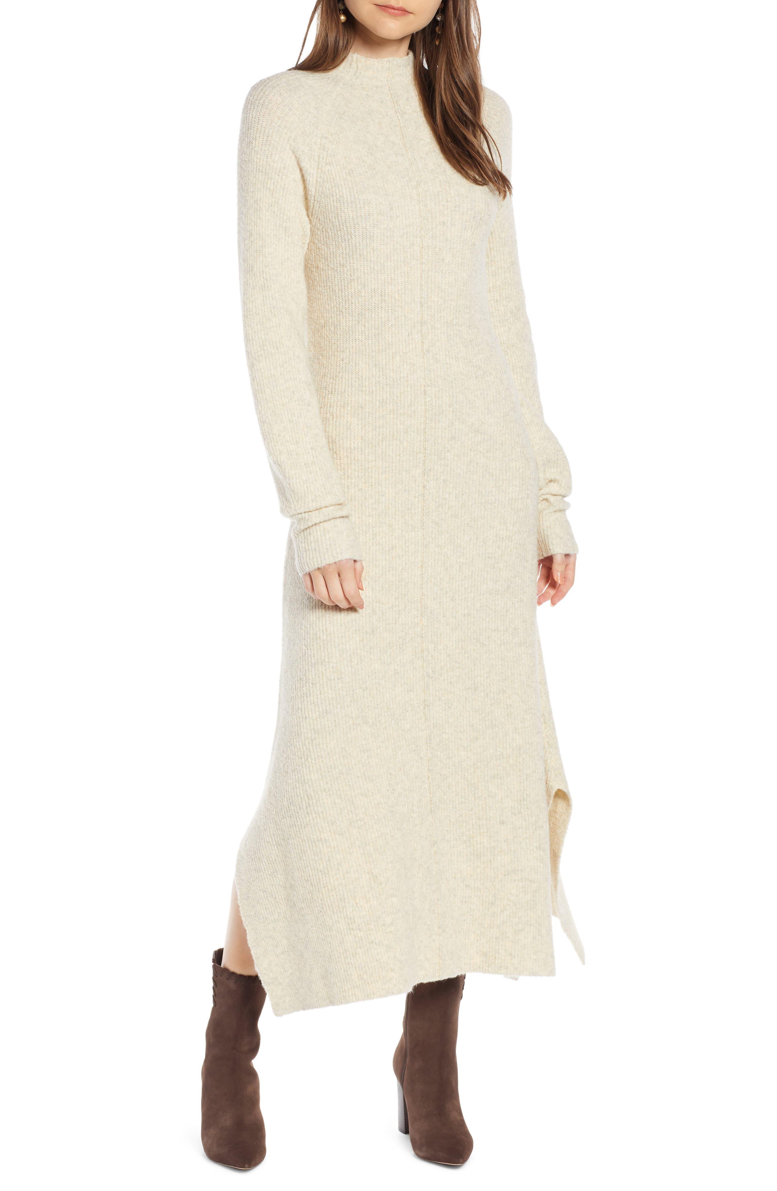 ,                             Mock Neck Maxi Sweater Dress,                             Main thumbnail 1, color,                             260