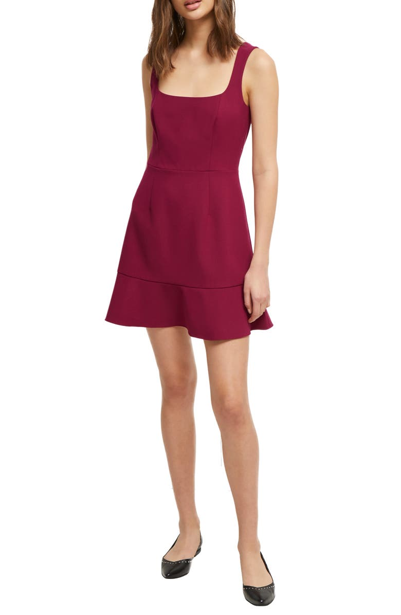 FRENCH CONNECTION Dorotea Square Neck Fit & Flare Dress, Main, color, HOLLYHOCK