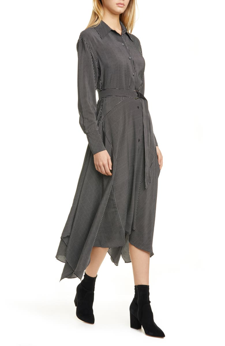 LA LIGNE Directional Stripe Belted Long Sleeve Silk Shirtdress, Main, color, WHITE/ BLACK