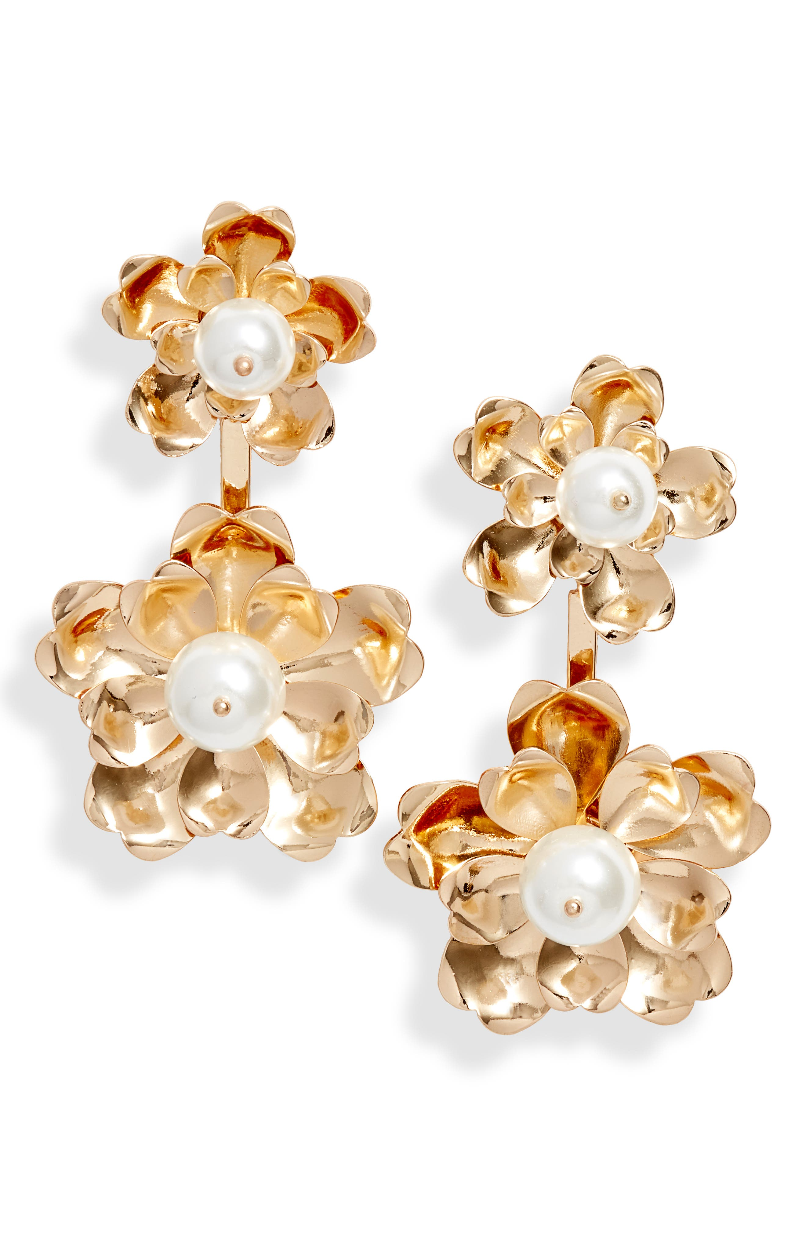 Floral Drop Earrings, Main, color, 100