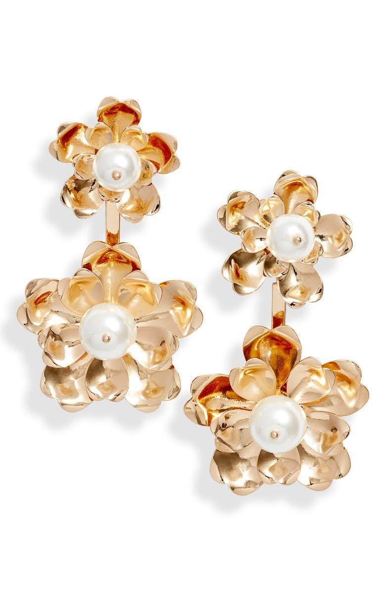 RACHEL PARCELL Floral Drop Earrings, Main, color, 100