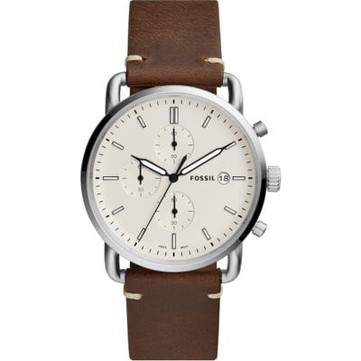 Fossil The Commuter Chronograph Leather Strap Watch, 42Mm