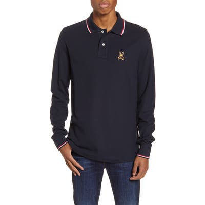 Psycho Bunny Tipped Long Sleeve Pique Polo, Blue