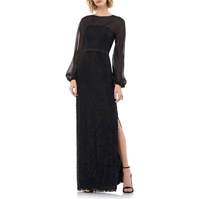 Kay Unger Long Sleeve Illusion Yoke Lace Gown, Black