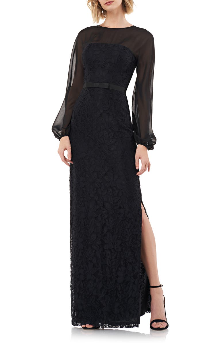 KAY UNGER Long Sleeve Illusion Yoke Lace Gown, Main, color, BLACK
