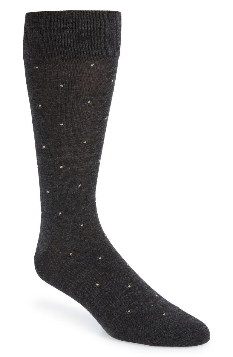 NORDSTROM SIGNATURE Merino Foulard Dot Dress Socks, Main, color, CHARCOAL/ GREY