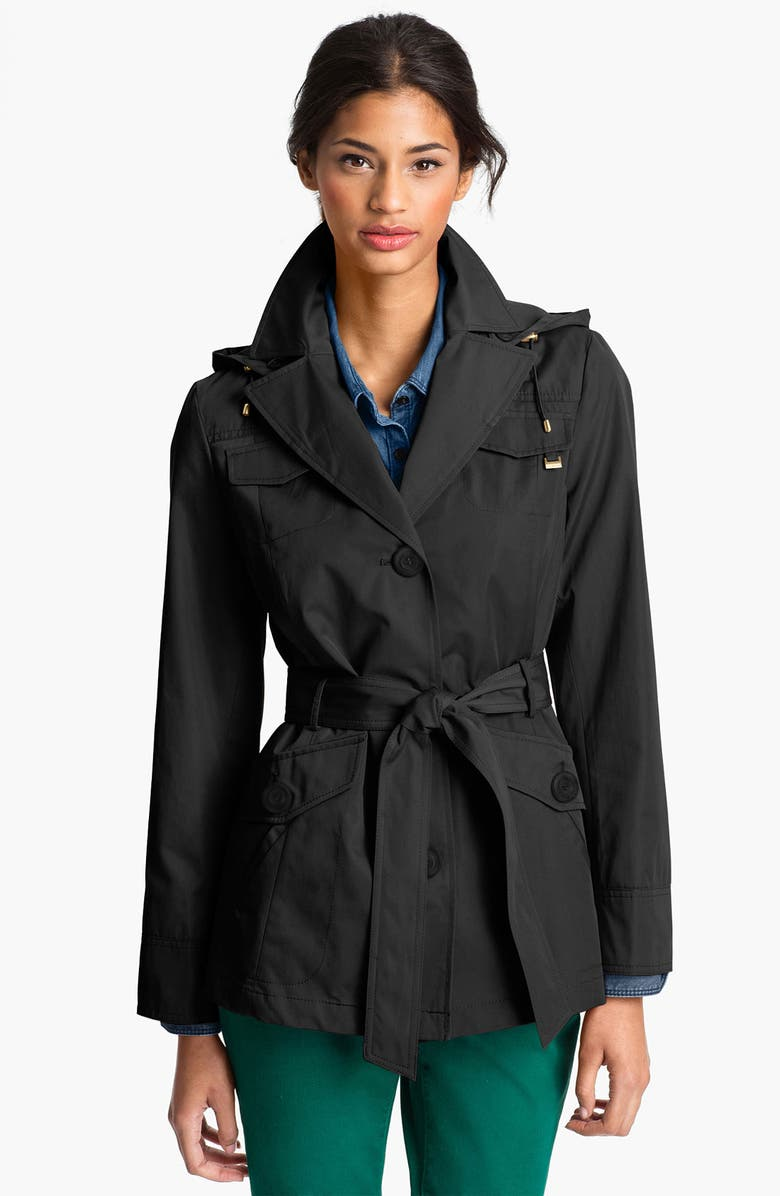 ELLEN TRACY Short Trench Coat, Main, color, 001