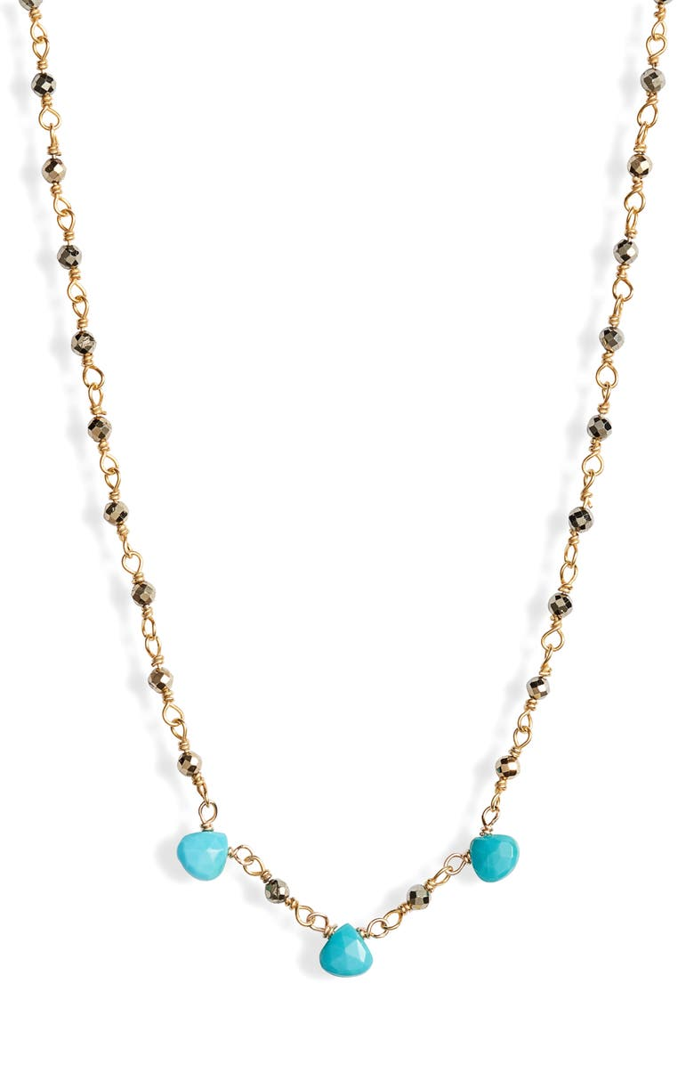 ELA RAE Lori Semiprecious Stone Collar Necklace, Main, color, GOLD