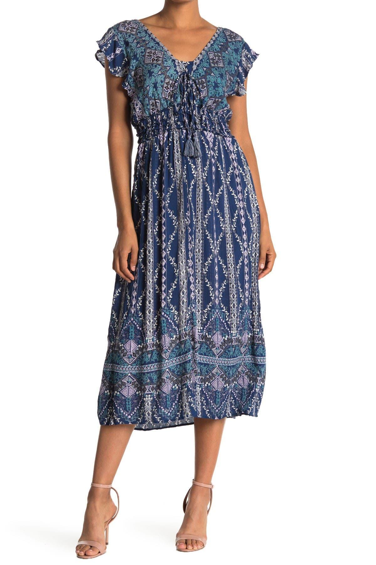 Image of Angie V-Neck Flutter Sleeve Tiered Dress