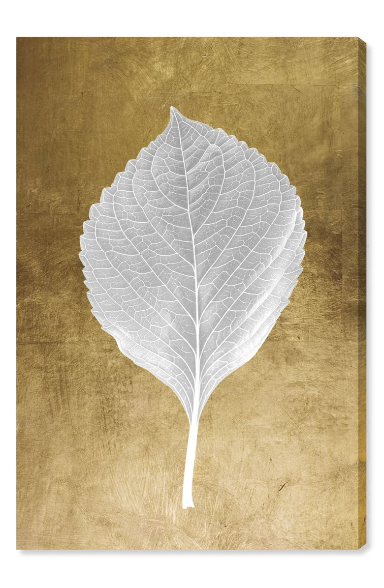 OLIVER GAL Leaf in Gold I Canvas Wall Art, Main, color, METALLIC GOLD