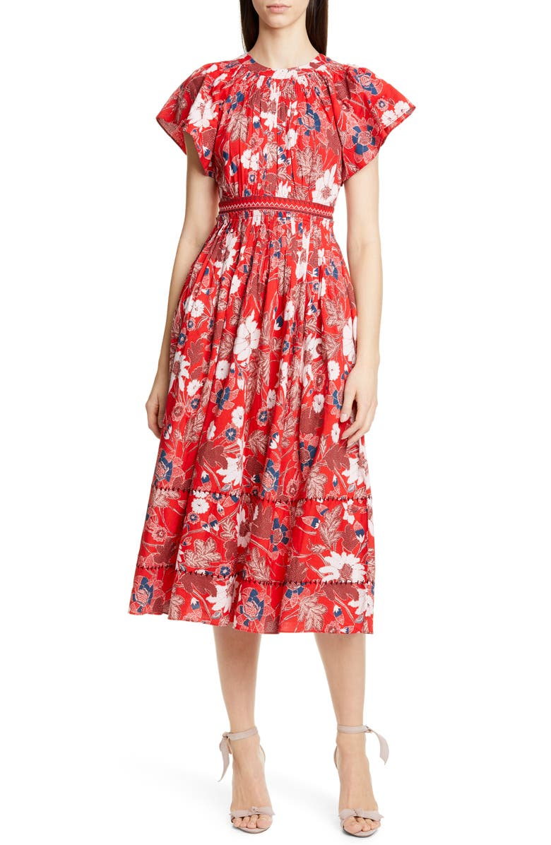 ULLA JOHNSON Lottie Floral Print Midi Dress, Main, color, SCARLET