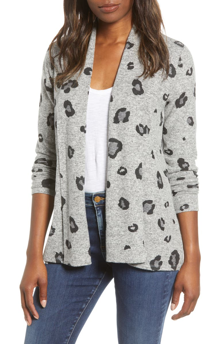 GIBSON Open Front Fleece Cardigan, Main, color, GREY LEOPARD