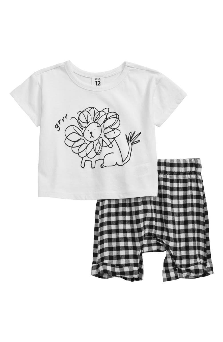 STEM Lion T-Shirt & Check Shorts Set, Main, color, BLACK- WHITE GINGHAM