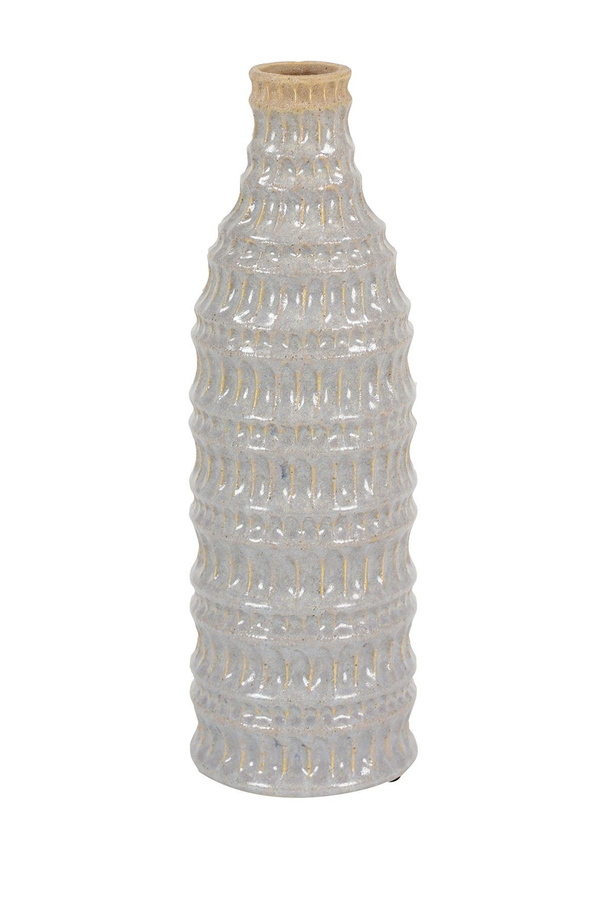 """Image of Willow Row Tall, Cylindrical Light Gray Ceramic Decorative Vase with Hand-Carved Geometric Design - 4.5""""x 14"""
