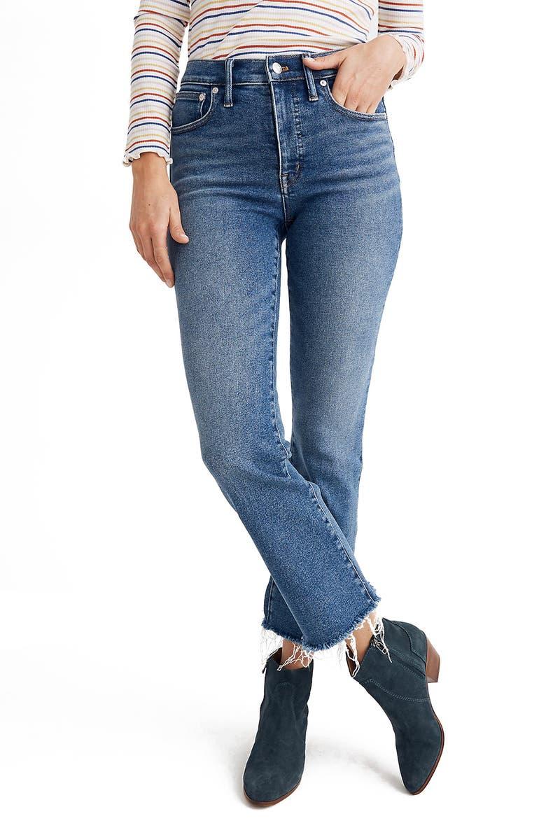 MADEWELL Cali High Waist Demi Boot Jeans, Main, color, 400